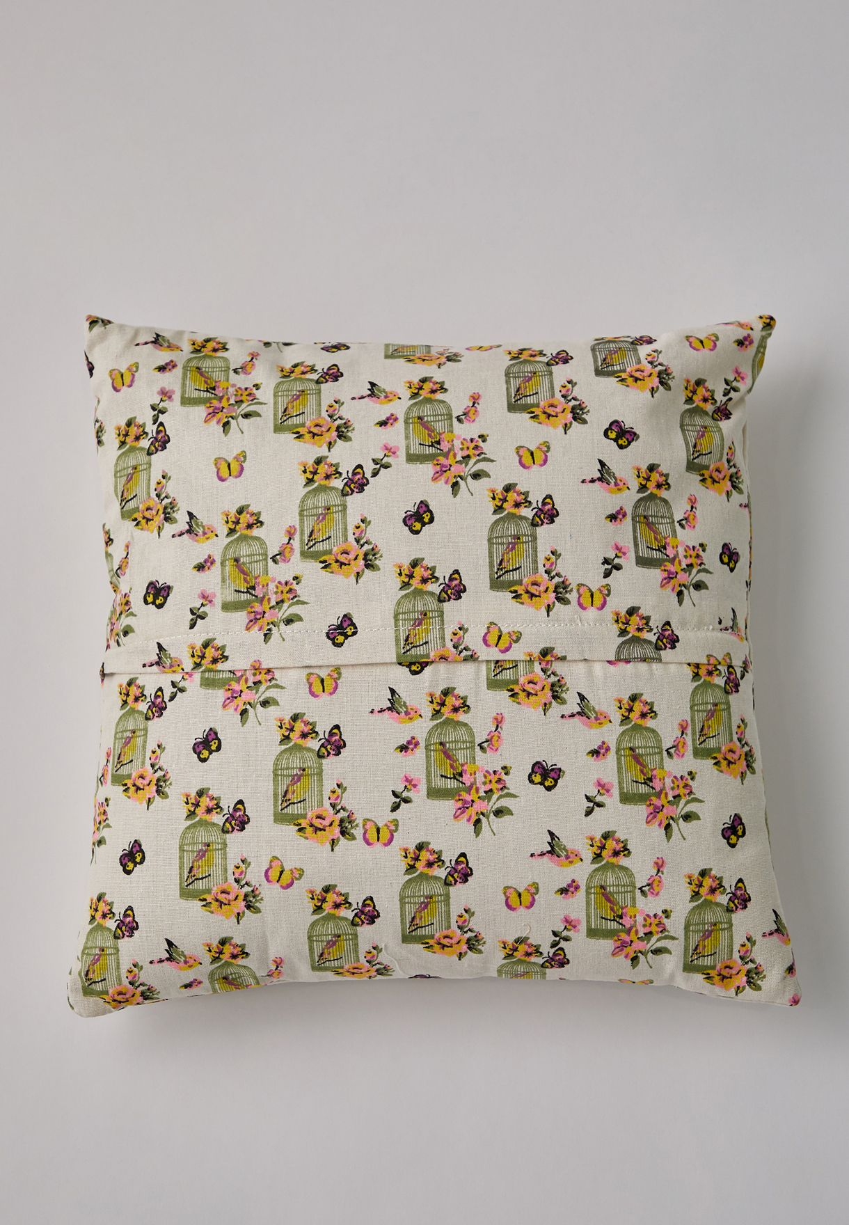 Bird Floral Printed Cushion With Insert 45x45 cm