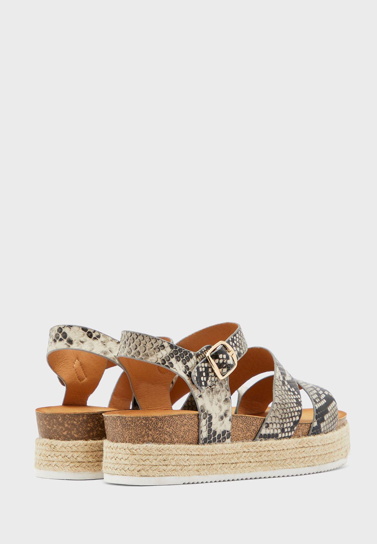 Snake Flatform Sandals