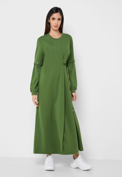 Front Pleated Maxi Dress