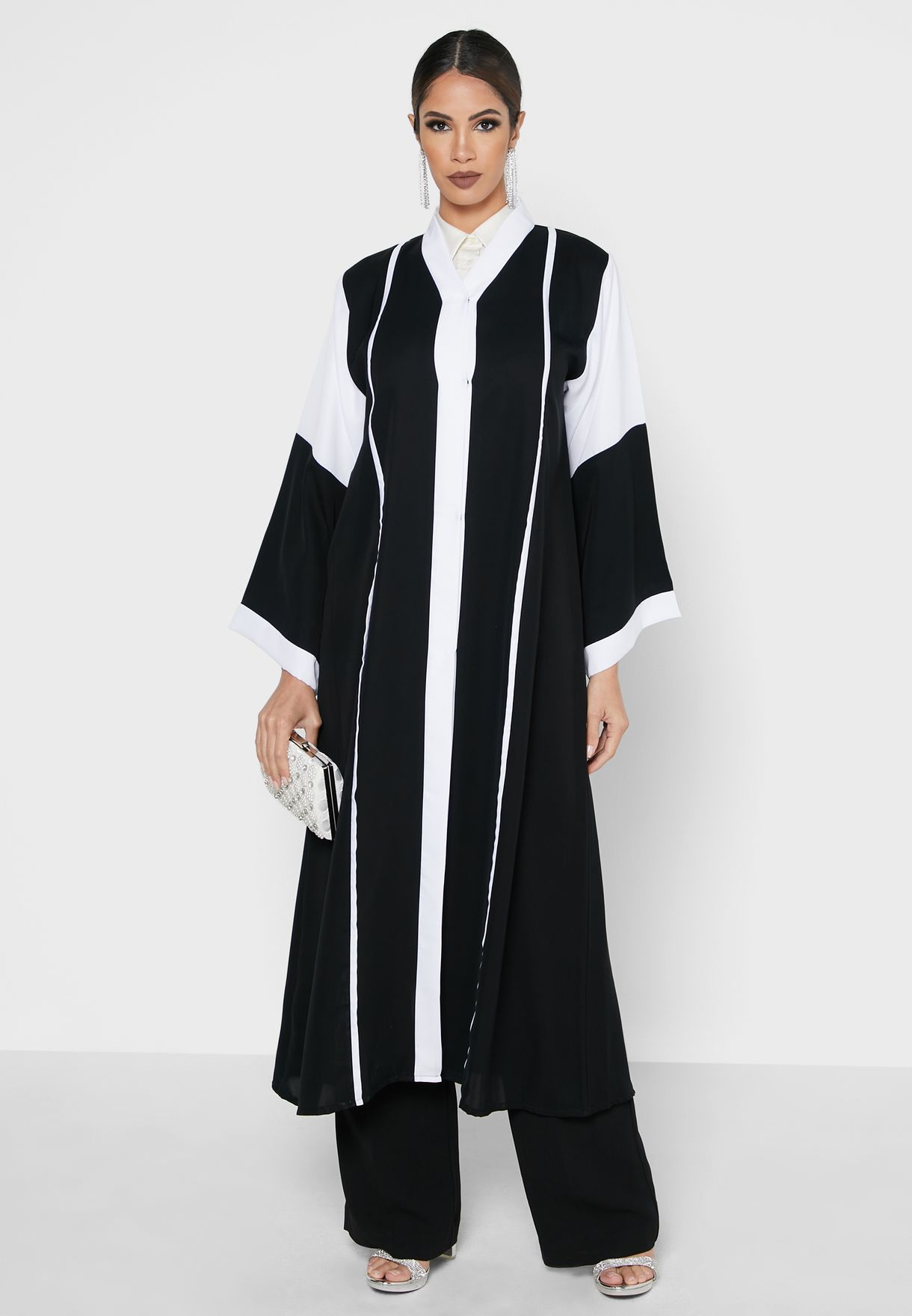 Contrast Pipping Color Block Abaya