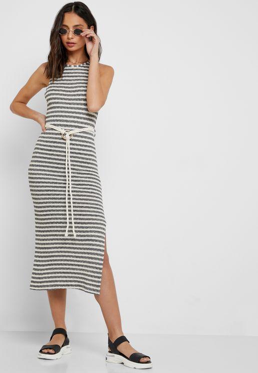 5757bd9351c2 Side Split Striped Dress. Topshop. Side Split Striped Dress