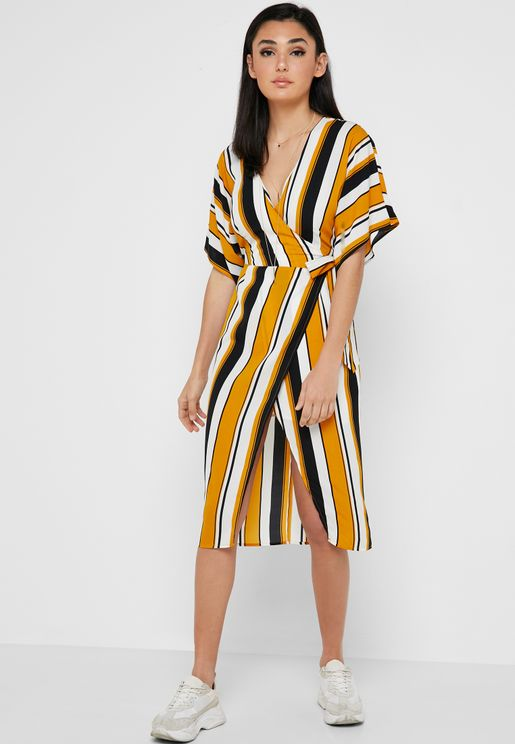 Striped Wide Sleeve Wrap Dress
