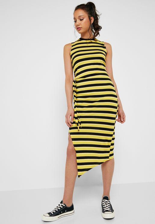 Asymmetric Side Split Sleeveless Striped Dress