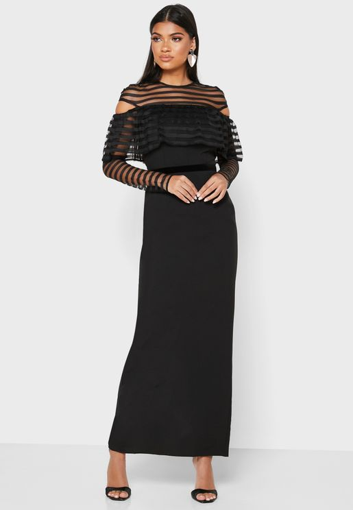 Mesh Detail Overlay Dress