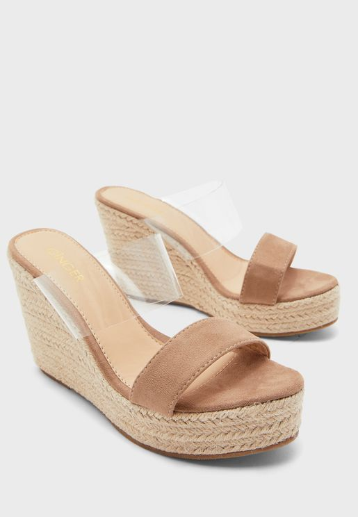 Clear Strap Espadrille Wedge Sandals