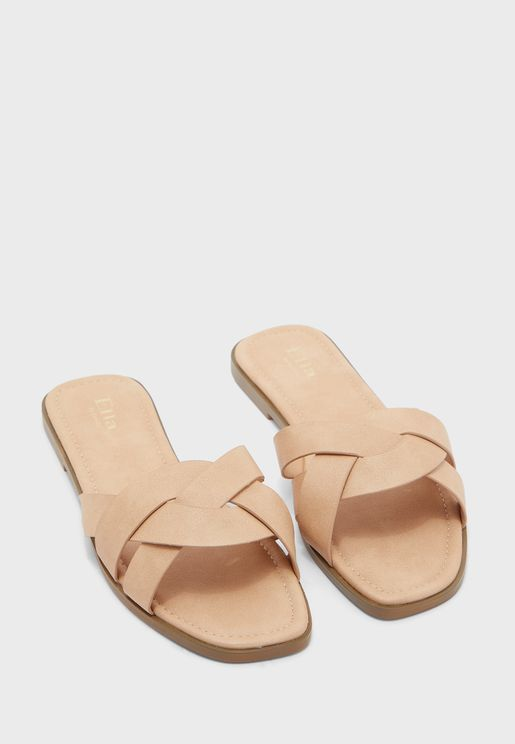 Twisted Strap Square Toe Flat Sandal