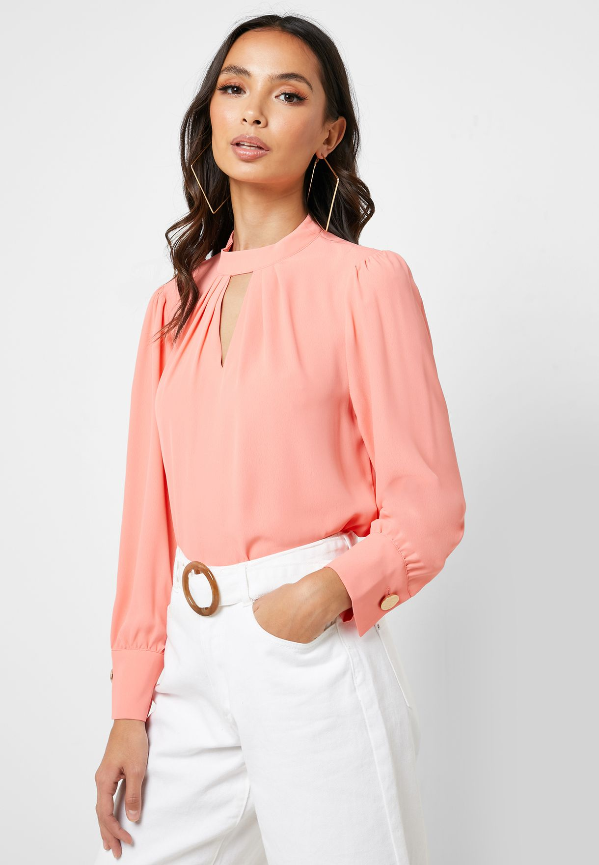 Ruched Neck Keyhole Top