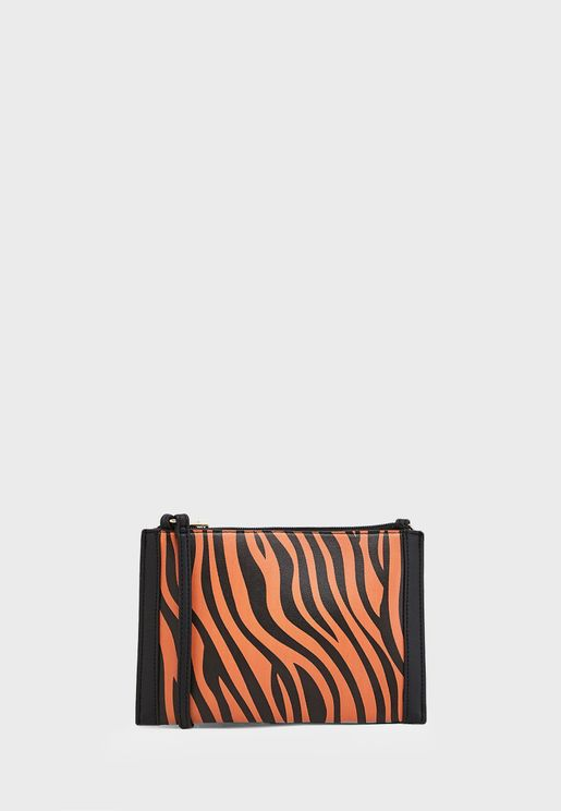 Clutch Bag In Tiger Print