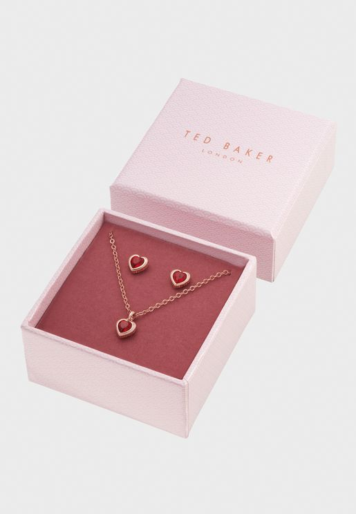 Hadeya Crystal Heart Necklace+Earrings Set