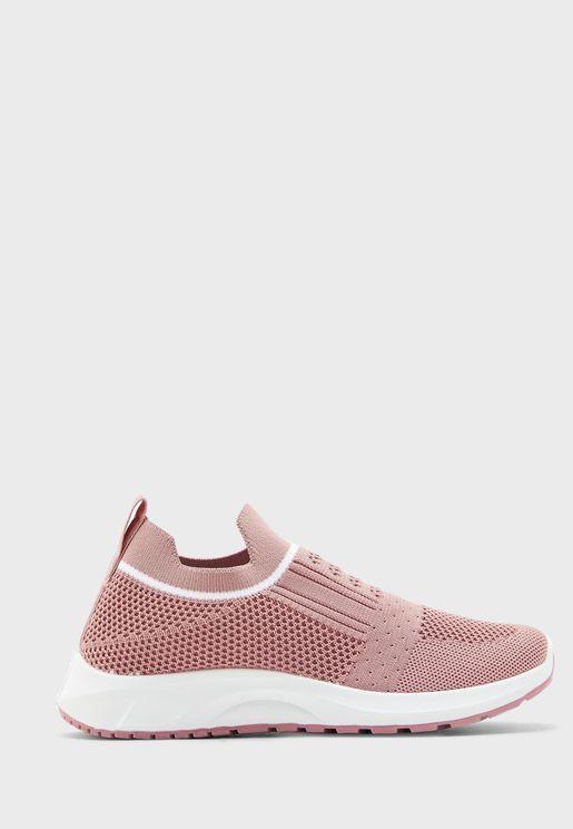 Pull On Stripe Trim Knit Comfort Sneaker