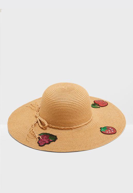 Embroidery Detail Wide Brim Straw Hat