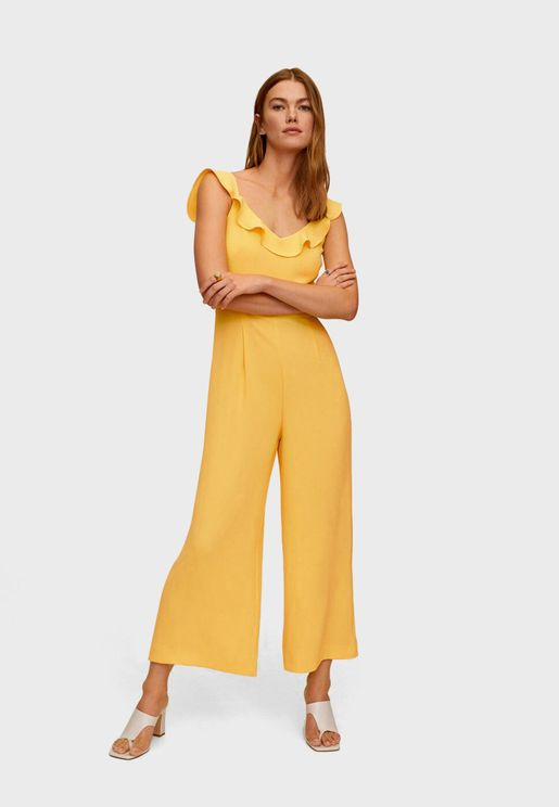Ruffle Trim Cropped Jumpsuit