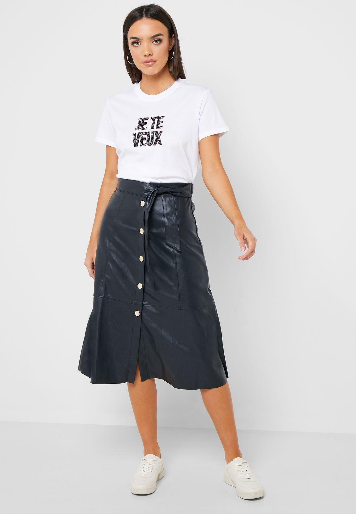 Button Through PU Skirt