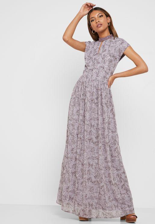 High Neck Key Hole Printed Dress