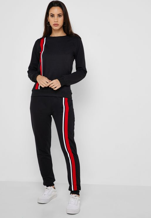 Contrast Tape Paneled Joggers Set
