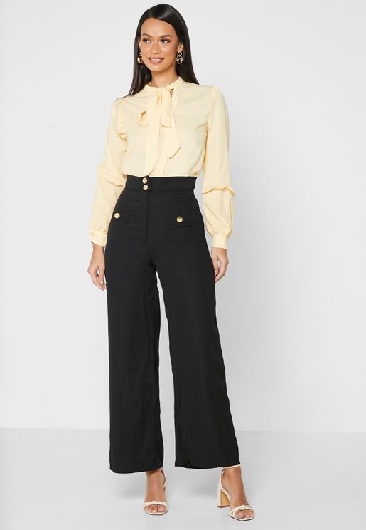 Flap Detail Tailored Trousers