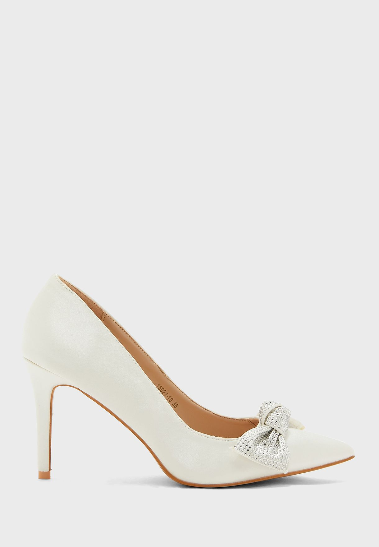 Pointed Satin Pump With Diamante Bow
