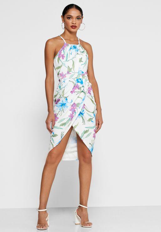 فستان بطبعات ازهار وحمالات خلفية متقاطعة