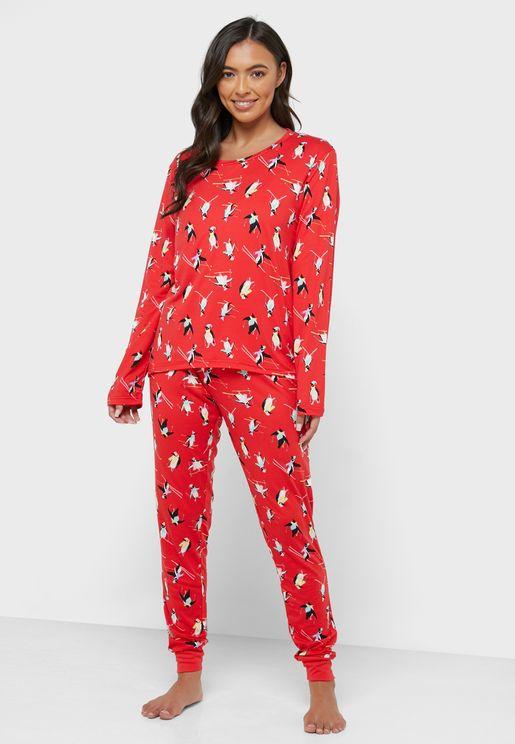 Penguin Print Top & Pyjama Set
