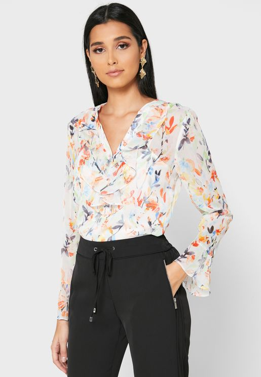 Floral Print Ruffle Sleeved Top