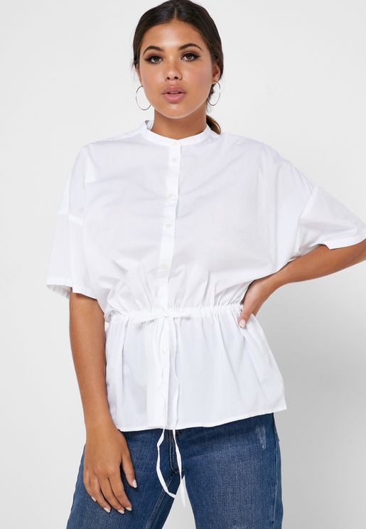 Drawstring Button Down Top