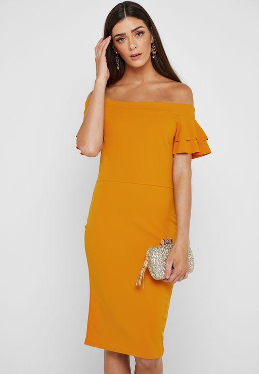 c5fe88329d Ruffle Detail Bardot Dress