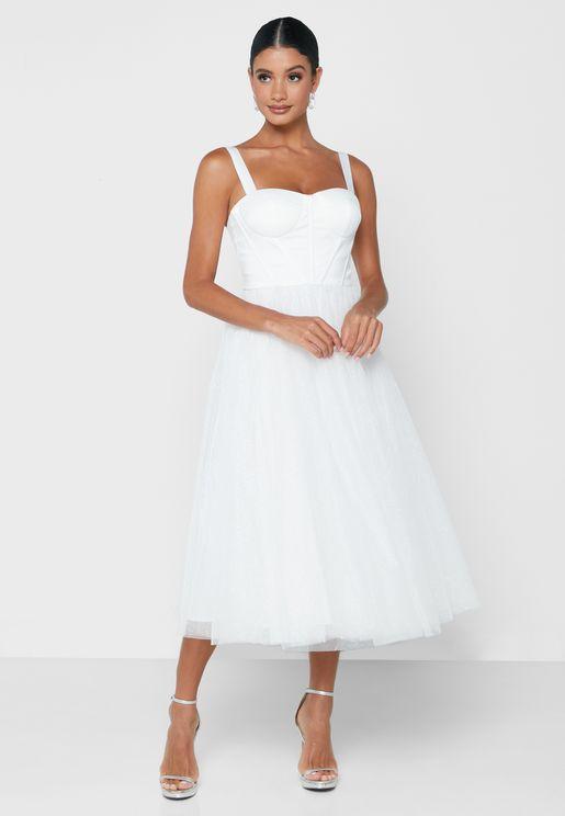 Square Neck Sequin Dress
