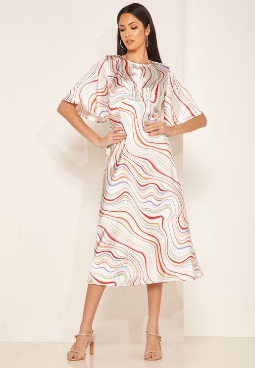 Angel Sleeve Printed Dress
