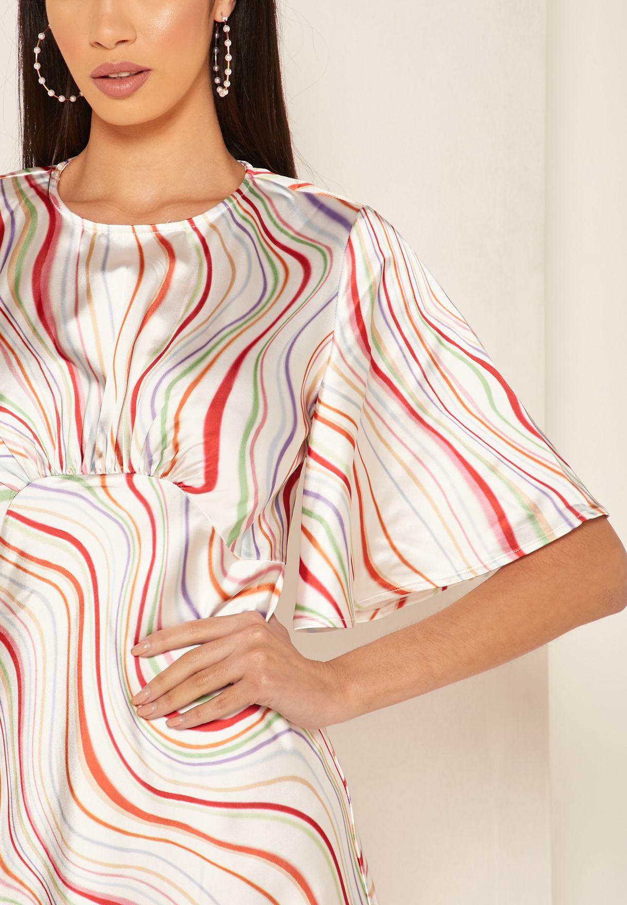 Angel Sleeve Printed Dress