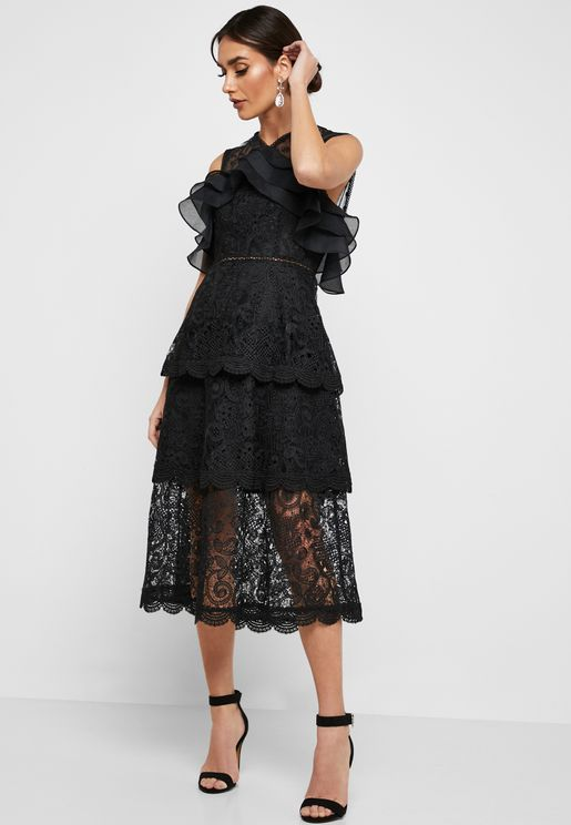 Frill Detail Lace Overlay Dress