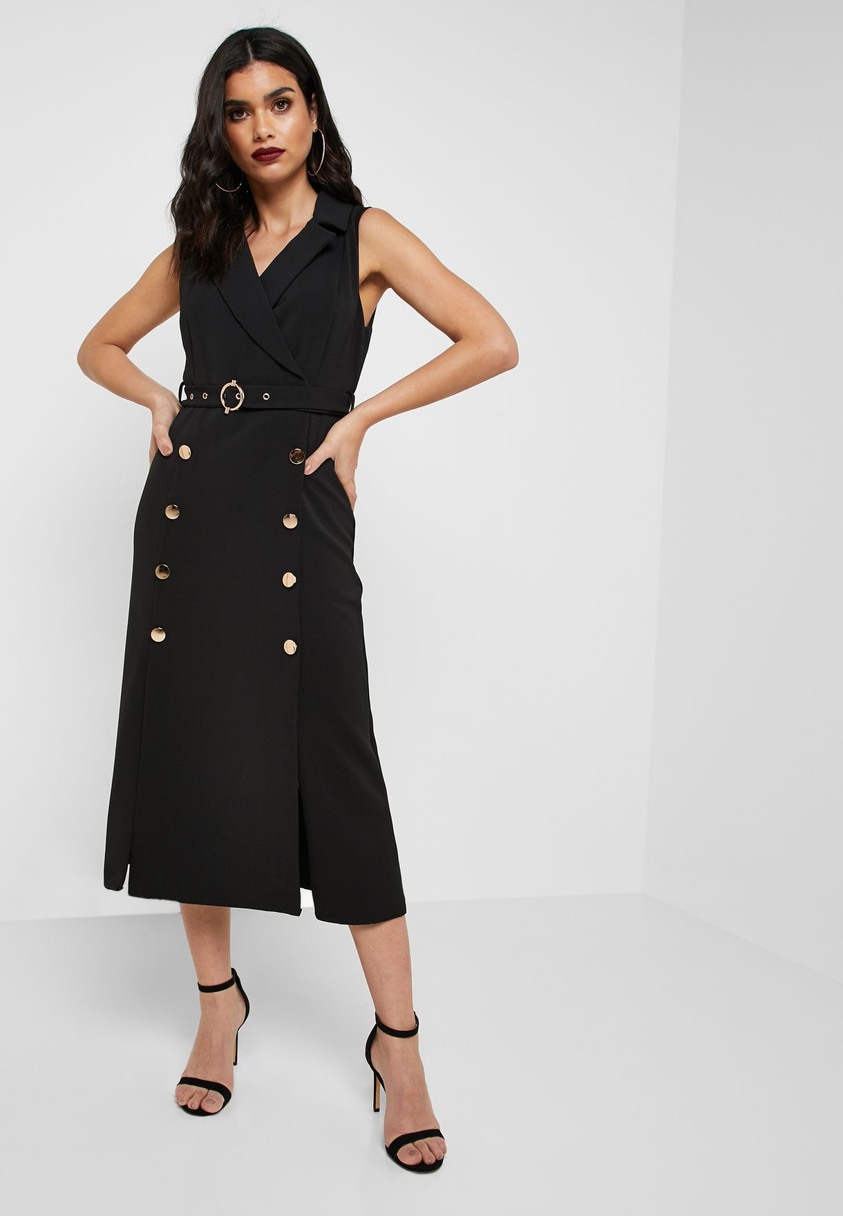 Belted Button Detail Dress