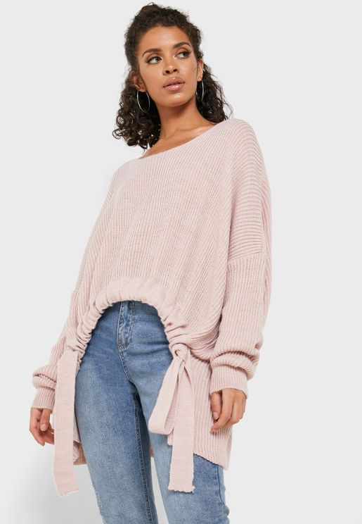 Oversized Tie Waist Sweater