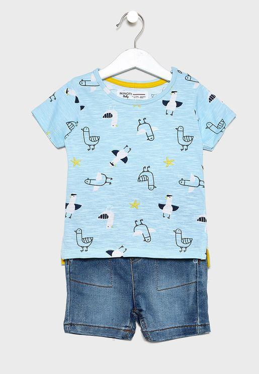 Infant Printed T-Shirt+Denim Shorts Set