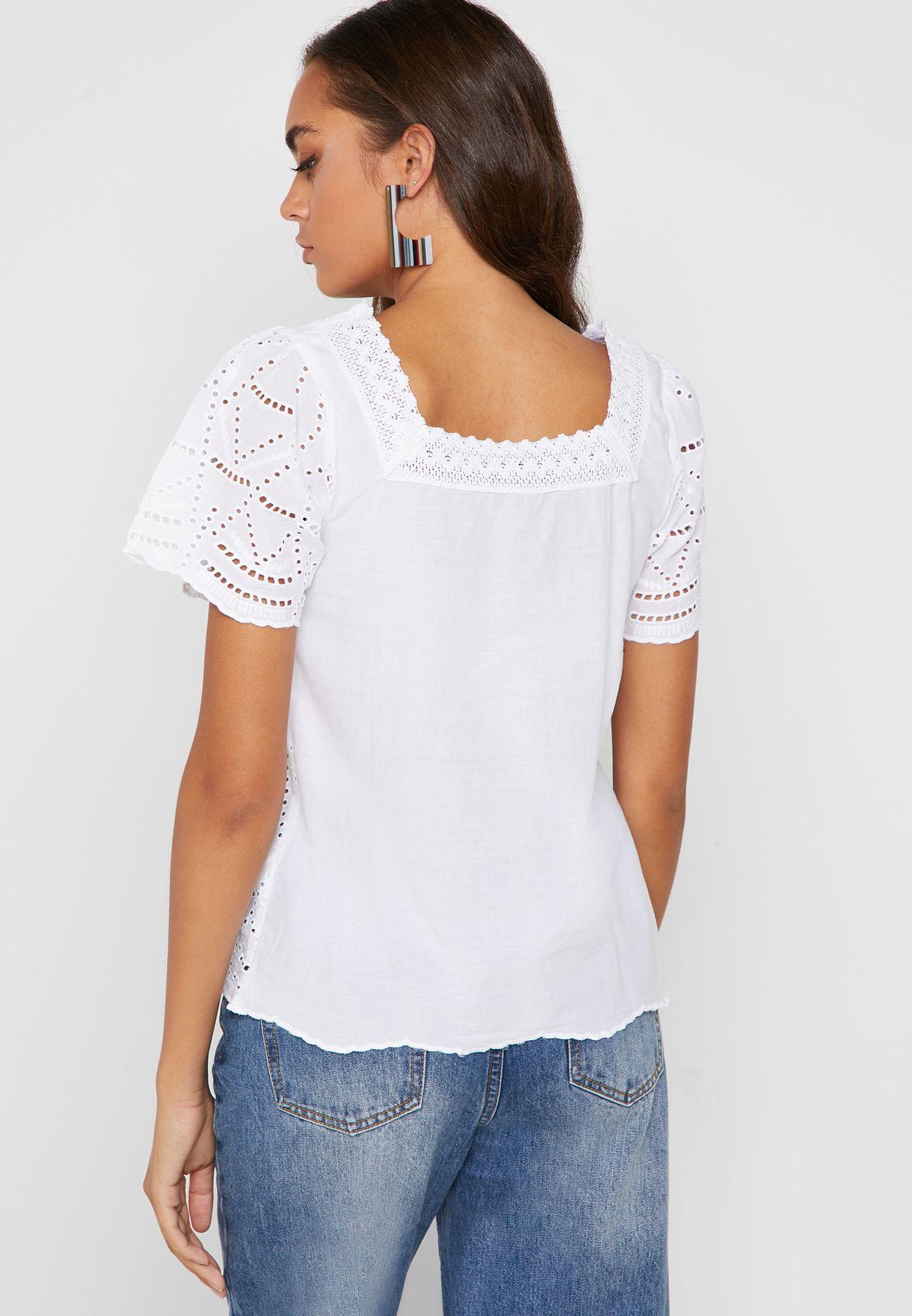 Square Neck Lace Detail Top