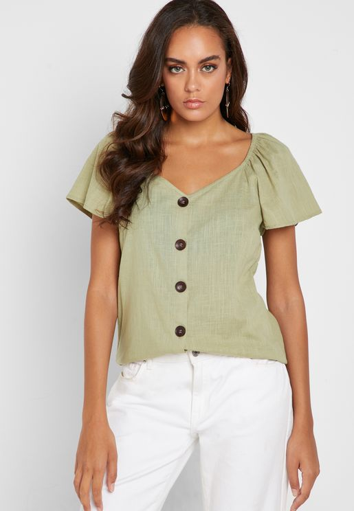 8c051a1c0b114 Frill Sleeves Button Down Top