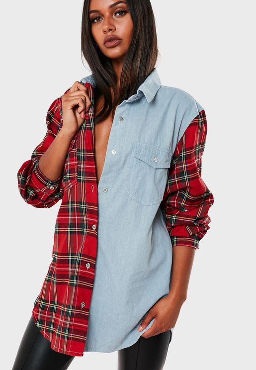Colourblock Oversized Denim Shirt