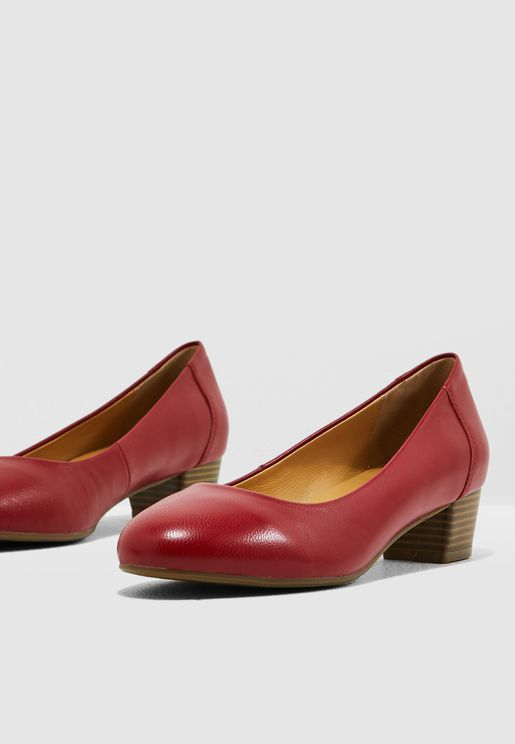 Block Heel Pump - Red