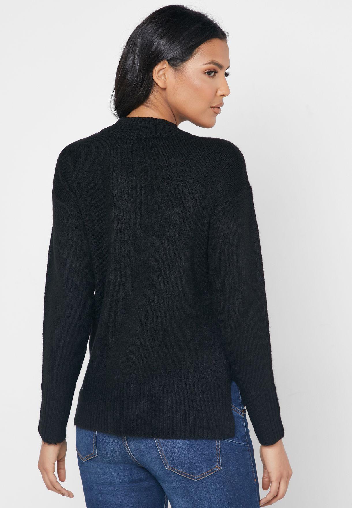 Ribbed Hem Crew Neck Sweater