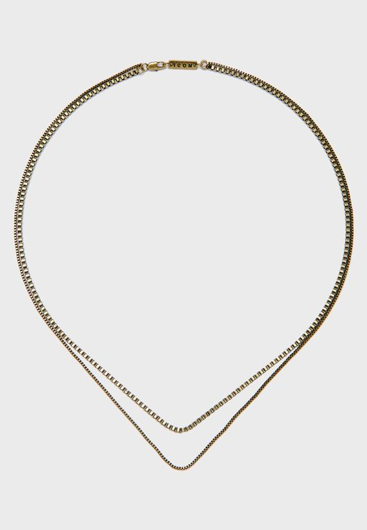 Double Strand Chain Necklace With Branded Tag