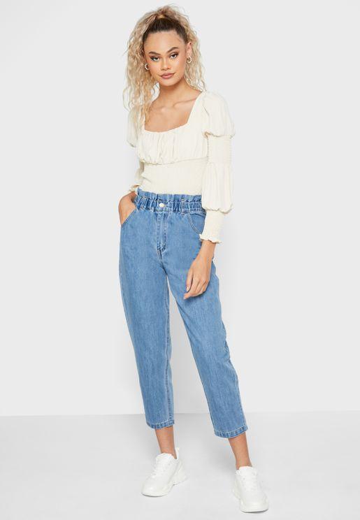 Frill Waist Mom Jeans