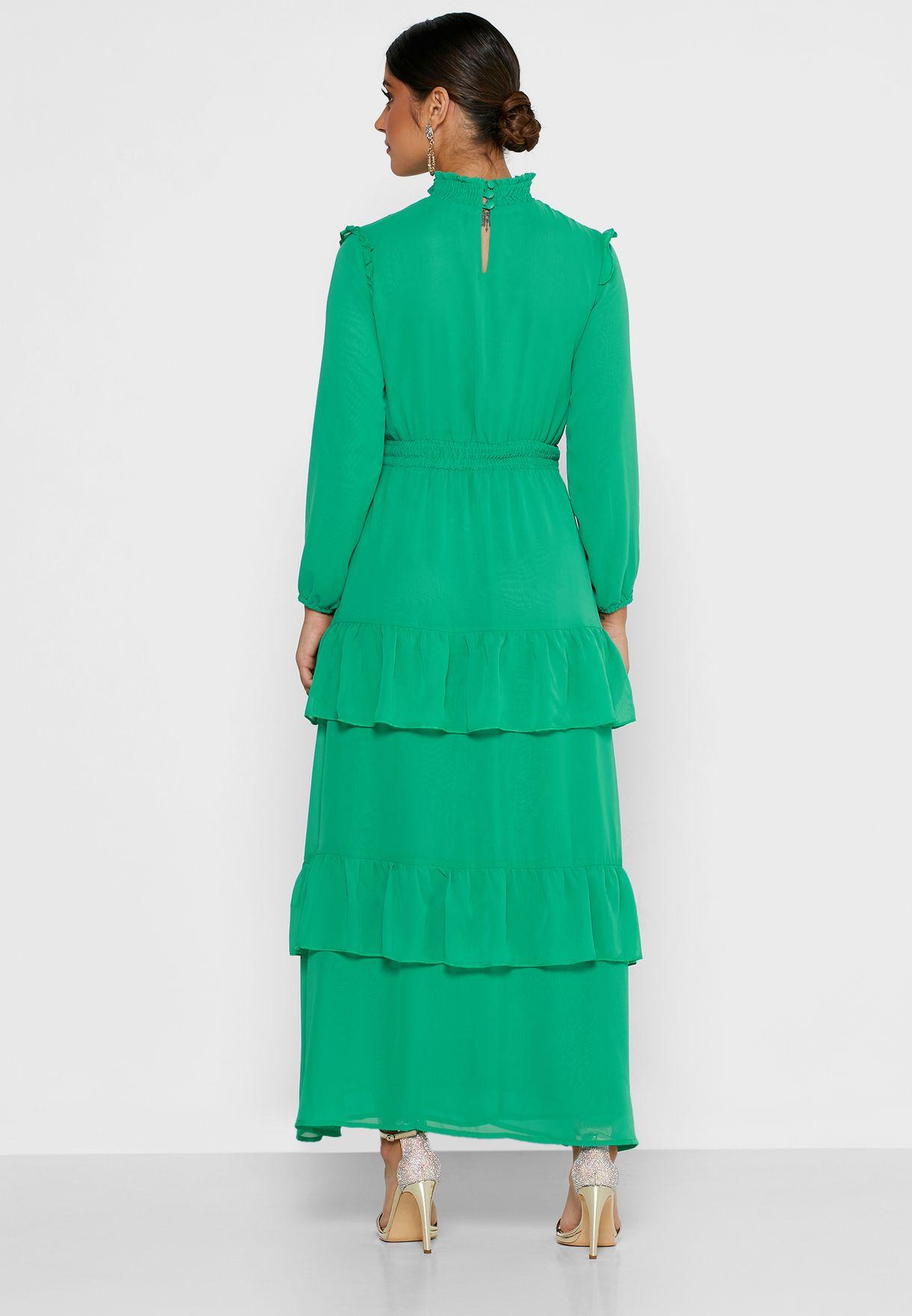 High Neck Tiered Maxi Dress