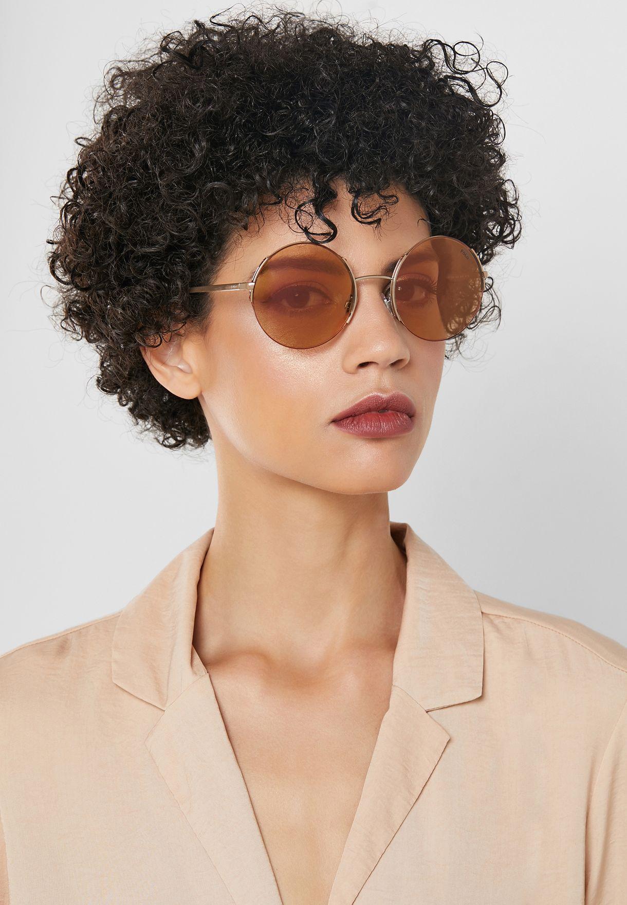 4e463ff0d98 Shop Polo Ralph Lauren gold Round Sunglasses 8.05E+12 for ...