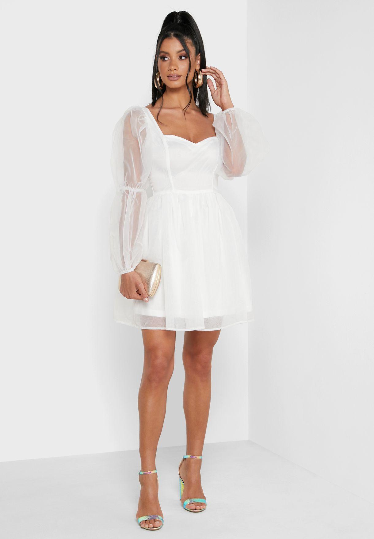 Mesh Puff Sleeves Mini Dress
