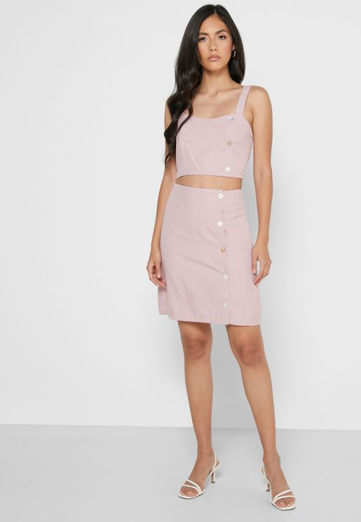 Side Button Crop Top Mini Skirt Set