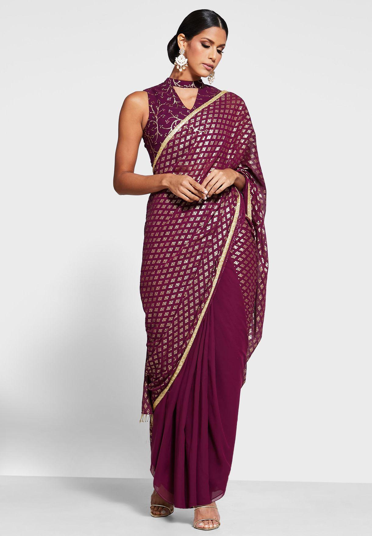 Wine Embellished Pleated Sari Skirt