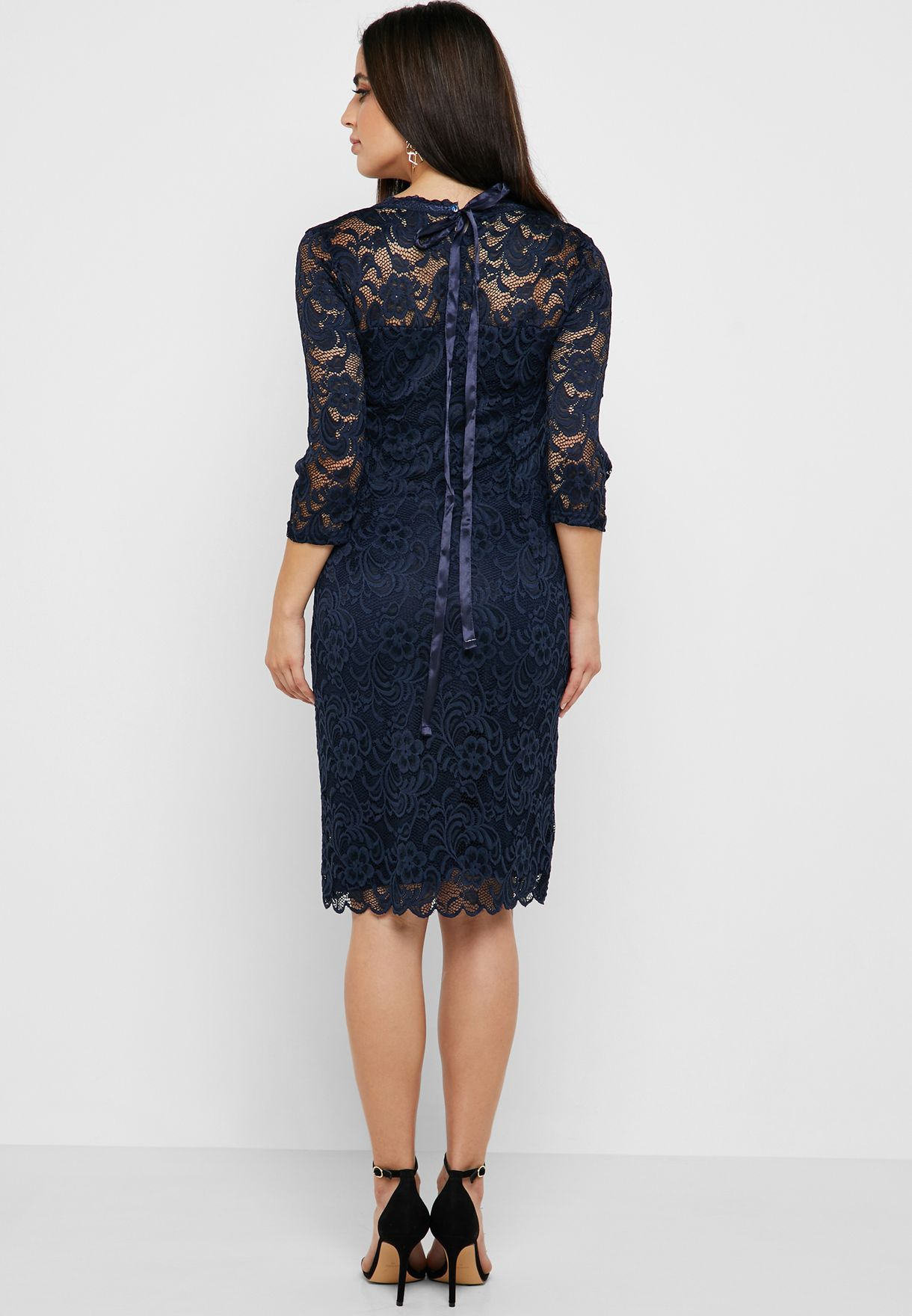 Lace Detail 3/4 Sleeve Belted Midi Dress