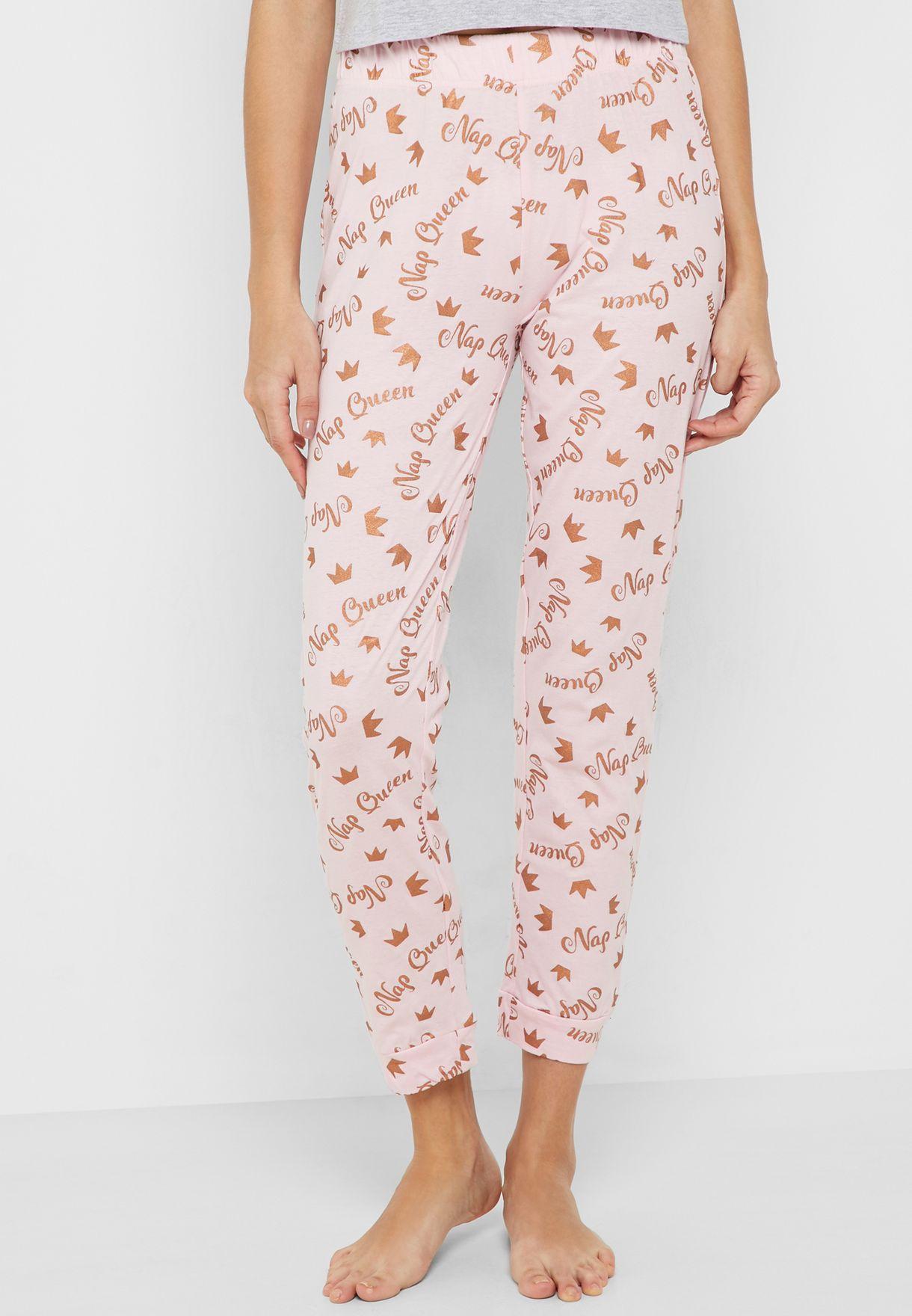 Glitter Slogan Printed Pyjama Set
