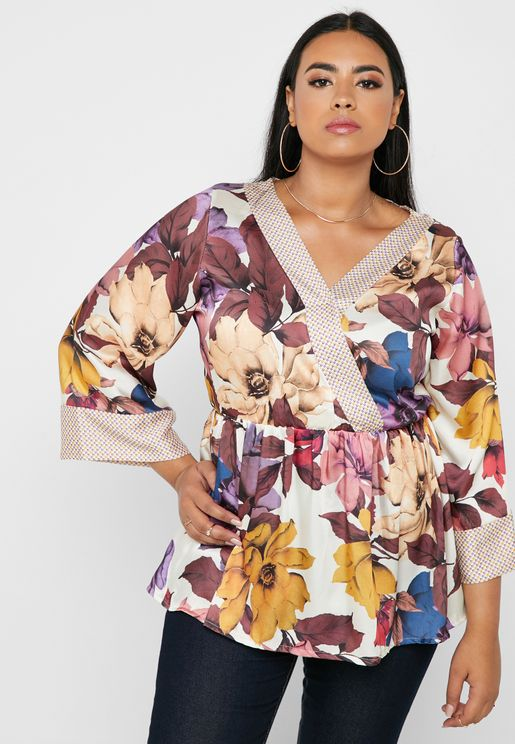 Mixed Print Wrap Front Peplum Top