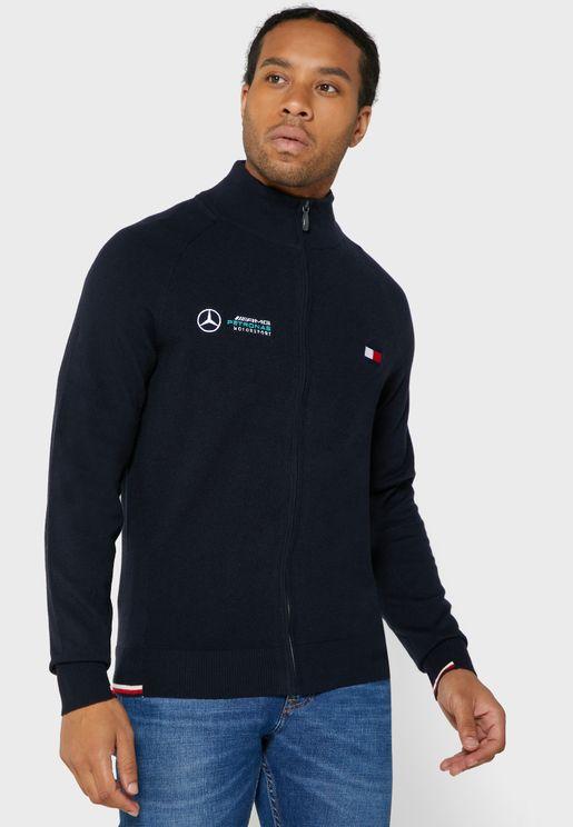 Chest Logo Zip Through Sweatshirt