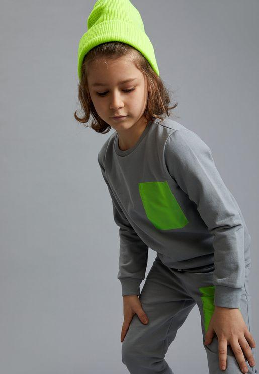 Kids Contrast Patch Sweatshirt
